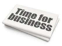 Finance concept: Time for Business on Blank Newspaper background. Finance concept: Pixelated black text Time for Business on Blank Newspaper background, 3D Royalty Free Stock Images