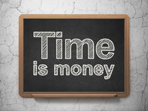 Finance concept: Time Is money on chalkboard background. Finance concept: text Time Is money on Black chalkboard on grunge wall background, 3D rendering Stock Photos