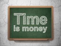 Finance concept: Time Is money on chalkboard background. Finance concept: text Time Is money on Green chalkboard on grunge wall background, 3D rendering Royalty Free Stock Photo