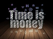 Finance concept: Time is Money in grunge dark room Royalty Free Stock Photos