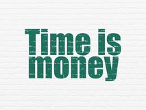 Finance concept: Time is Money on wall background. Finance concept: Painted green text Time is Money on White Brick wall background Royalty Free Stock Image