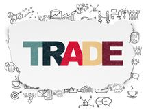 Finance concept: Trade on Torn Paper background. Finance concept: Painted multicolor text Trade on Torn Paper background with  Hand Drawn Business Icons Royalty Free Stock Photos