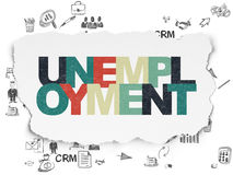 Finance concept: Unemployment on Torn Paper. Finance concept: Painted multicolor text Unemployment on Torn Paper background with Scheme Of Hand Drawn Business Stock Photos
