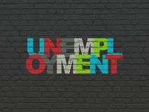 Finance concept: Unemployment on wall background. Finance concept: Painted multicolor text Unemployment on Black Brick wall background, 3d render Royalty Free Stock Photos