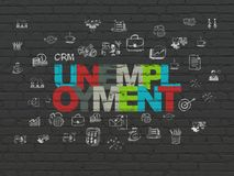 Finance concept: Unemployment on wall background. Finance concept: Painted multicolor text Unemployment on Black Brick wall background with  Hand Drawn Business Royalty Free Stock Photography