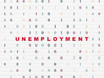 Finance concept: Unemployment on wall background. Finance concept: Painted red text Unemployment on White Brick wall background with Binary Code, 3d render Stock Photography