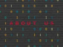 Finance concept: About us on wall background. Finance concept: Painted red text About us on Black Brick wall background with Binary Code Stock Photography