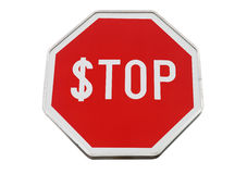 Finance concept with USD and stop label on road sign. Isolated on white Stock Image