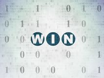 Finance concept: Win on Digital Data Paper background. Finance concept: Painted blue text Win on Digital Data Paper background with Binary Code Royalty Free Stock Image