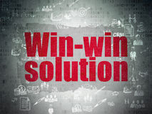 Finance concept: Win-win Solution on Digital Paper. Finance concept: Painted red text Win-win Solution on Digital Paper background with Scheme Of Hand Drawn Royalty Free Stock Photos