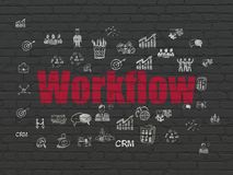 Finance concept: Workflow on wall background. Finance concept: Painted red text Workflow on Black Brick wall background with  Hand Drawn Business Icons Stock Image