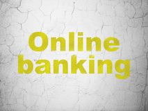 Finance concept: Online Banking on wall background. Finance concept: Yellow Online Banking on textured concrete wall background Royalty Free Stock Image