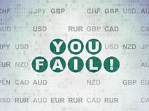 Finance concept: You Fail! on Digital Data Paper background. Finance concept: Painted green text You Fail! on Digital Data Paper background with Currency Royalty Free Stock Photography