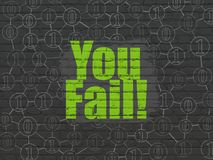 Finance concept: You Fail! on wall background. Finance concept: Painted green text You Fail! on Black Brick wall background with Scheme Of Binary Code Stock Photography