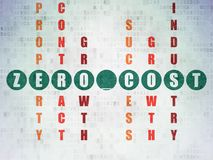 Finance concept: Zero cost in Crossword Puzzle. Finance concept: Painted green word Zero cost in solving Crossword Puzzle on Digital Data Paper background Royalty Free Stock Image