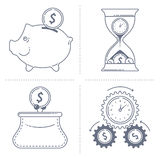 Finance concepts. Outline dark grey vector illustrations of the various finance concepts Royalty Free Stock Photography