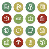 Finance contour icons on color buttons. Vector icons set for websites, guides, booklets Stock Photography