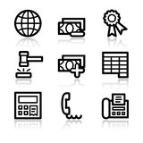 Finance contour web icons 2. Vector web icons, black contour series Stock Photo