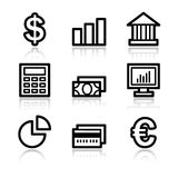 Finance contour web icons. Vector web icons, black contour series Royalty Free Stock Photos