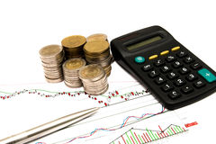 Finance count. Money, coins calculator and finance Stock Image