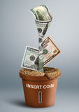 Finance creative concept, money growth as flower in pot Stock Images