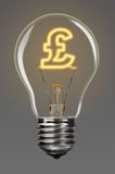 Finance creativity. Bulb with glowing pound sign inside of it, financial creativity concept Royalty Free Stock Images