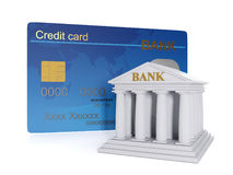 Finance and credit. 3d illustration of: Finance and credit. Credit card and bank building, office Royalty Free Stock Images