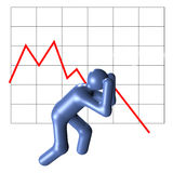 Finance crisis. An illustrated person in desperate mood in front of a crashing chart Royalty Free Stock Photo
