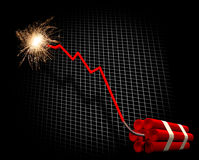 Finance crisis countdown. Downward trend leading to dynamite explosion Stock Photo