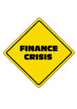 Finance Crisis next 5 years. Finance Crisis with danger road sign Stock Photos