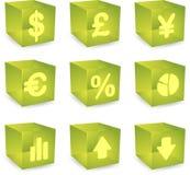 Finance cube icons. Finance symbols icon set over translucent cubes Stock Photo