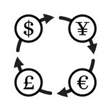 Finance currency exchange vector icon set. Yuan Royalty Free Stock Photography
