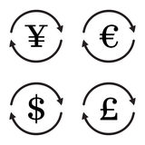 Finance currency exchange vector icon set. Yuan. Dollar, euro, pound sterling money exchange. Vector illustration Royalty Free Stock Image
