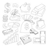 Finance and Currency icons set. Hand drawn vector for business, finance design, infographic Royalty Free Stock Photos