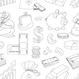 Finance and Currency pattern. Hand drawn vector for business, finance design, infographic Stock Photography