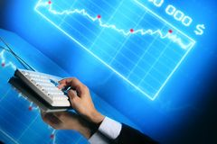 Finance data. Businessman input finance data information on keyboard royalty free stock images