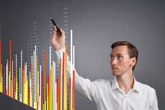 Finance data concept. Man working with Analytics. Chart graph information on digital screen. Royalty Free Stock Image