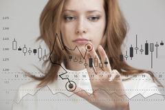 Finance data concept. Woman working with Analytics. Chart graph information with Japanese candles on digital screen. Royalty Free Stock Images