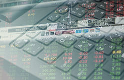 Finance data on keyboard background business concept for background use Stock Photography