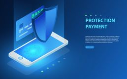 Finance data protection, smartphone with credit card and shield isometric vector illustration. On blue background. Isometric personal data protection web banner Stock Photos