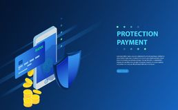 Finance data protection, smartphone with credit card and shield isometric vector illustration. On blue background. Isometric personal data protection web banner Royalty Free Stock Photos