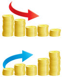 Finance decline. Two vector abstract graph with stacks of gold coins with  Dollar Sign Stock Photo