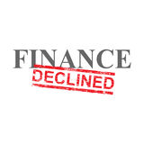 Finance Declined Word Stamp. Declined grungy red rubber stamp over finance word illustration Stock Image