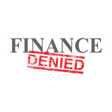 Finance Denied Word Stamp. Denied grungy red rubber stamp over finance word illustration Royalty Free Stock Photography