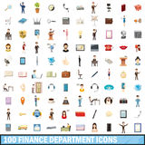 100 finance department icons set, cartoon style. 100 finance department icons set in cartoon style for any design vector illustration Royalty Free Illustration