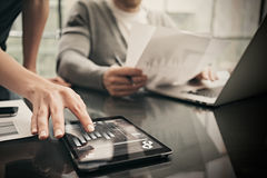 Finance department working process.Picture woman showing business reports modern tablet,diagram screen. Banker manager Royalty Free Stock Images