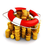Finance deposit insurance and money safety concept. Lifebuoy on a stack of gold coins isolated on white background Stock Photography