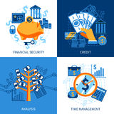 Finance Design Concept. Flat design icons concept set of financial security crediting and management vector illustration Stock Photography