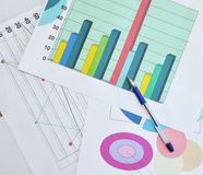 Finance documents. Ballpoint on financial documents, diagram Royalty Free Stock Image