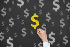 Finance Dollar Concept Drawing on Blackboard Royalty Free Stock Photo